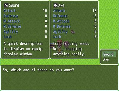 MV Equip Display Window | Galv's RPG Maker Scripts & Plugins